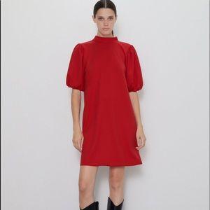 BNWOT zara size large balloon sleeve red dress